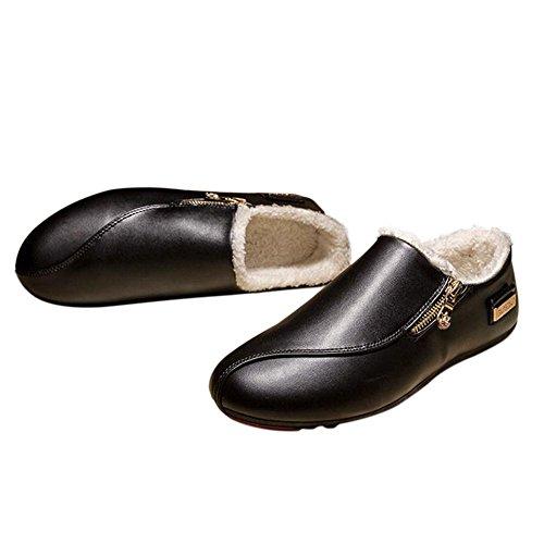Deylaying New Hommes Hiver Clipper Mocassins Chaud Flat Chausson Doux Doublés de Fourrure Slippers Noir