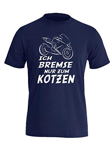 Ich Bremse nur zum Kotzen - Herren Rundhals T-Shirt Navy/Weiss