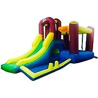 Riscko Castillo Hinchable Infantil CH09 de 485 x 230 x 233 cm con tobogán, Zona de Juegos, Zona de Saltos y Red Protectora