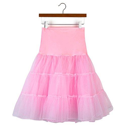 (KPILP Frauen Unterröcke Hohe Taille Tutu Plissee Petticoat Kurzen Rock Erwachsene Ballett Tanz Party Prom Rock Minikleid(A-rosa,EU34-50/CN-S))