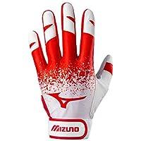 Mizuno Finch - Guantes de bateo para Adulto - 330420.1010.06.M, Medium, Blanco/Rojo