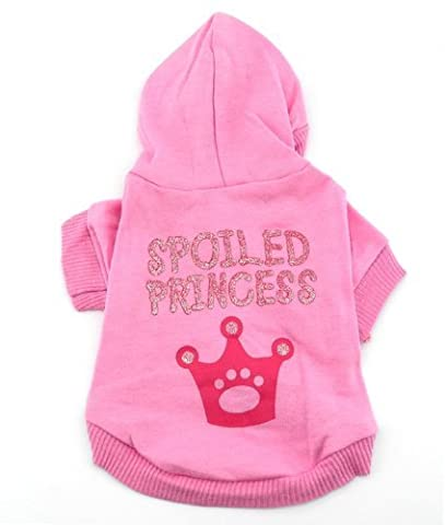 Smalllee_lucky_store Pink Hoodie Hooded Christmas T Tee Shirt Small Dog Clothes Costume - Spoiled Princess