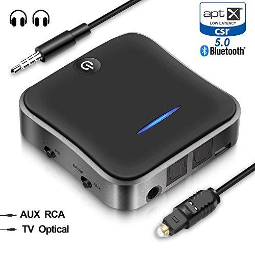 HiGoing Bluetooth 5.0 Transmitter Empfänger, Bluetooth Adapter 2 in 1 Digital Optisches TOSLINK/SPDIF, RCA und 3.5mm, Kabellos Audio Adapter für Fernsehen, Kopfhörer und Lautsprecher