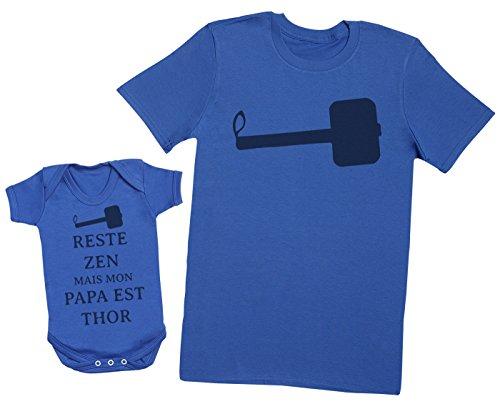 Zarlivia Clothing Reste Zen mais Mon Papa est Thor - Ensemble Père Bébé Cadeau - Hommes T-Shirt & Body bébé - Bleu - XXL & 6-12 Mois
