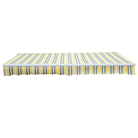 Greenbay 3x2.5m Garden Awning Replacement Fabric Top Cover Front Valance Yellow-Stripe