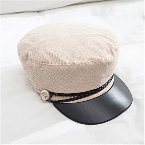 Cord Marine Hut weiblichen Herbst und Winter britischen Baskenmütze lässig Wilde Kappe koreanischen schwarzen Maler Hut Flut 米白 M (56-58cm)