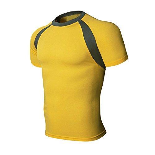 Malloom Patchwork Polyester atmungsaktiv Sport-T-Stück Hemd Eterna Slim Fit Herren (XXL, Gelb)