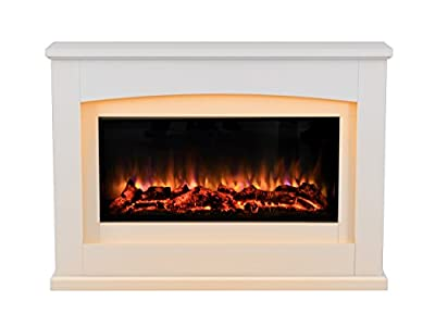 Danby Electric Fireplace Suite Glass fronted electric fire 220/240Vac, 1&2kW 7 day Programmable remote control in an Off White MDF fireplace suite.