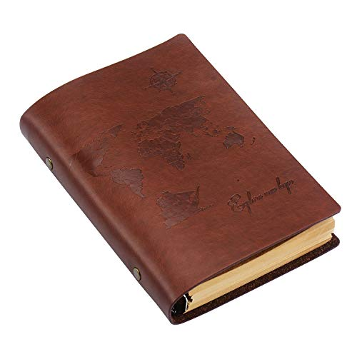 SEEALLDE Leder Notizbuch A6 Leere Seiten Journal Notebook