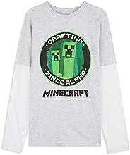 Minecraft Camiseta Niño, Camisetas Manga Larga Diseño Creeper y Mob, Ropa para Niño de Algodon, Regalos para N