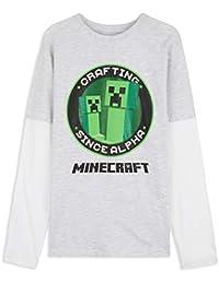 Minecraft Camiseta Niño, Camisetas Manga Larga Diseño Creeper y Mob, Ropa para Niño de Algodon, Regalos para Niños y Adolescentes 5-13 Años