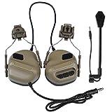 Gocher Auriculares tácticos Recogida de Sonido Orejeras de Seguridad para la versión de Casco Auriculares de reducción de Ruido con Adaptador de riel para protección auditiva Auriculares de Radio-Tan