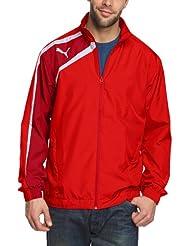 PUMA - Chaqueta de fútbol sala para hombre, tamaño L, color puma rojo - chili pepper - blanco