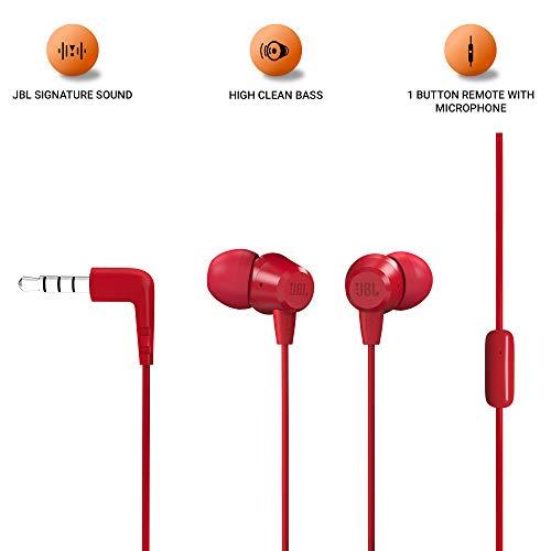 JBL C50HI in-Ear Headphones with Mic (Crimson) Image 2