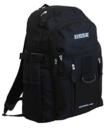 Herren-/Jungen-Rucksack, Sport, Arbeit, Fitness, Schule, Reisen, Wandern, mit Taschen Gr. L, schwarz / schwarz