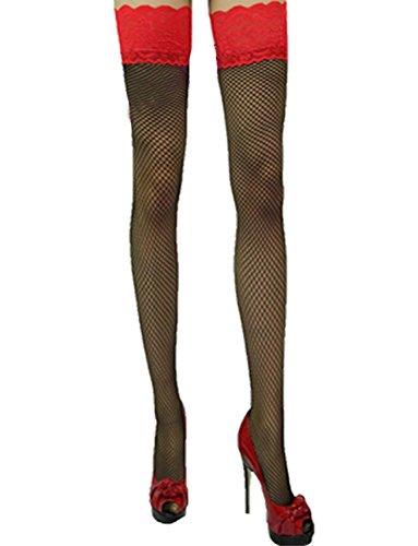 etz-Strapsstrümpfe Rote Spitzenkante Halterlose Strümpfe Dessous (Plus Size Burlesque Outfits)