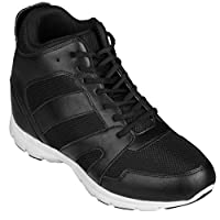 CALTO - G3330-4 Inches Taller - Size 8 UK- Height Increasing Elevator Shoes (Black High-top Lace-up Sneakers)