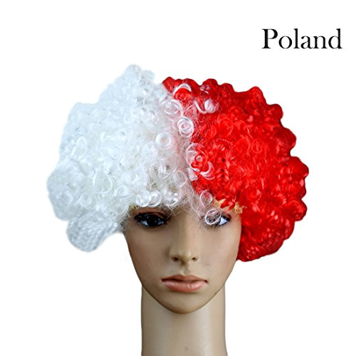 (WM-Perücken 2026 Fußballfans Nationalflagge Farbe Party Karneval Tag Perücken-Polen)