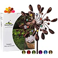 Solar Wind Spinner nueva 75 en caja taza Multicolor luz LED solar powered bola de cristal con Kinetic viento Spinner doble dirección para césped y jardín