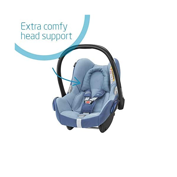 Maxi-Cosi CabrioFix Baby Car Seat Group 0+, ISOFIX, 0-12 Months, Frequency Blue, 0-13 kg Maxi-Cosi Baby car seat, suitable from birth to 13 kg (birth to 12 months) Side protection system for optimal protection against side impact Extra comfortable head support thanks to extra padding 4