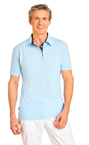 clinicfashion Polo-Shirt Unisex hellblau für Damen und Herren, Baumwolle Stretch, Größe XS-XXXL Hellblau