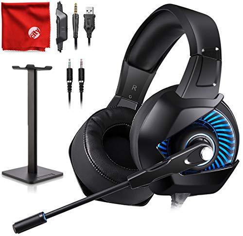 adset, mit blauem LED-Licht, Surround-Sound, Geräuschunterdrückung, für PC, Xbox One, PS4, Nintendo Switch, Mac, Desktop, Laptop, Computer ()