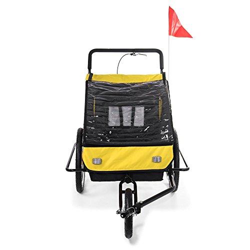 SAMAX Fahrradanhänger Jogger 2in1 Kinderanhänger Kinderfahrradanhänger Transportwagen für 2 Kinder Gelb/Schwarz - Black Frame - 6