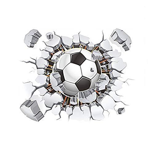 (Westeng Wandaufkleber Persönlichkeit 3D Fußball Wandtattoos Wasserdichte Dekoration für Schlafzimmer Wohnzimmer Kinderzimmer)