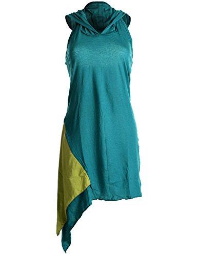 Vishes – Alternative Bekleidung – Asymmetrisches, lagenlook Neckholder-, Zipfelkleid mit Kapuze türkis 34
