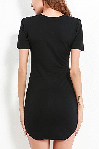 Le Donne Si Bodycon Night Mini Vestito In Maniche Corte Solido Black