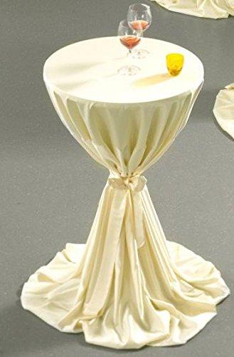 Gastro Uzal Stehtischhusse mit Schleife Set 2 teilig in creme 80-100 cm rund, Tischhusse creme