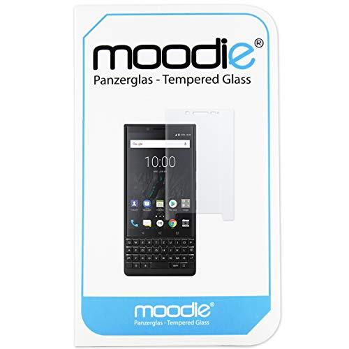 moodie Panzerglas 3D Folie für BlackBerry Key2 mit transparenten Kanten - Premium Glasfolie für Gewölbte Displays Full Screen 3D Panzerglasfolie Curved vollständige Display Abdeckung