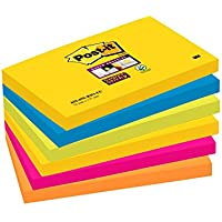Post it Notes 76 x 127mm Super Sticky Notes, Rio Colour Collection, 6 pads (90 sheets per pad)