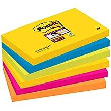 Post-it Super Sticky Notes Rio de Janeiro Collection 6556SR – Selbstklebende Haftnotizzettel in 76 x 127 mm – 6 Notizblöcke rechteckig à 90 Blatt in 5 Farben