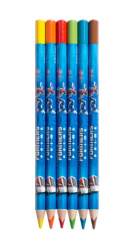 Herlitz bedruckte Jumbo Buntstifte Dreikant, Transformers Optimus Prime blue, 6 farbig