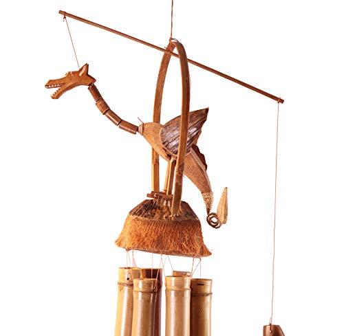 Windspiel Drache 70cm aus Bambus und Kokosnuss - handgefertigte Klangspiele und Glockenspiele mit Bambusrohren aus Bali zur Dekoration für Garten und Zimmer | Garten > Dekoration > Windspiele | Bambus | Haus&Tempel