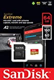 SanDisk Extreme microSDXC, U3, C10, V30, UHS 1, 160MB/s R, 60MB/s W, A2 Card, for 4K Video Rec on Smartphones, Action Cams & Drones, SDSQXA2 64GB
