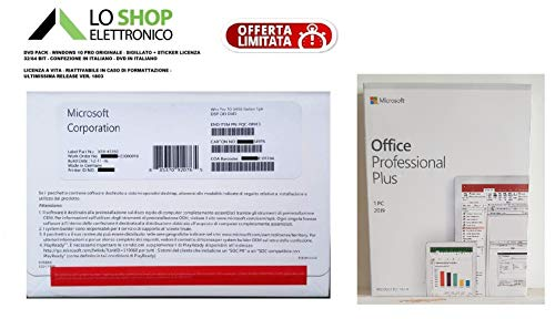 Windows 10 Pro Professional DVD 64 Bit ( Incluso Sticker Coa Product Key Licenza ) + Office 2019 Pro Professional Plus ( Inclusa Key Card Product Key Licenza ) - ITALIANO - Online - Fatturabili