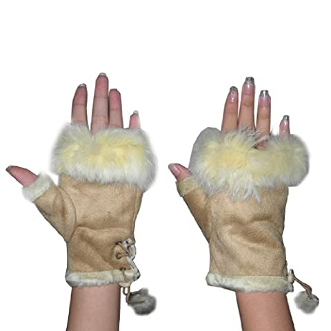 Womens Faux Fur Trimmed Fingerless Winter Gloves Suede centers Beige