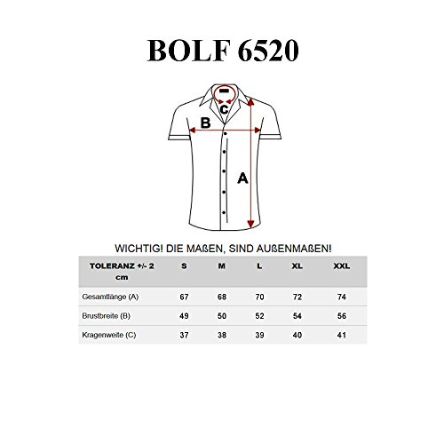 BOLF Herren Hemd Kurzarm Kariert Figurbetont Freizeit Casual Slim Fit Motiv 2B2 Gelb_6520