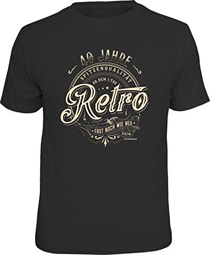 RAHMENLOS Original Geschenk T-Shirt zum 40. Geburtstag: 40 Jahre Retro, Fast noch wie neu! M