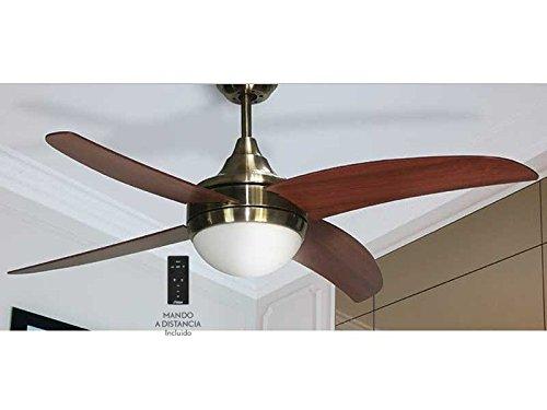 Ventilador de techo mod. OSIRIS con luz y mando a distancia, 117 cm. acabado Cuero Satinado con 4 palas...