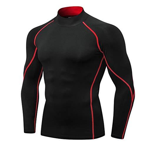 Herren Kompressions T-Shirt Langarm Funktionslauf Sportshirt Männer Funktionsshirts Bodybuilding Tops Funktionelle Sport Bekleidung Slim...