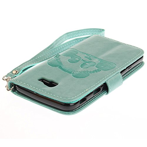Für Samsung Galaxy J5 Prime Case, Embossing Texture Magnetic Flip Stand PU / TPU Leder Brieftasche Fall mit Lanyard & Halter & Card Slots ( Color : Blue ) Green