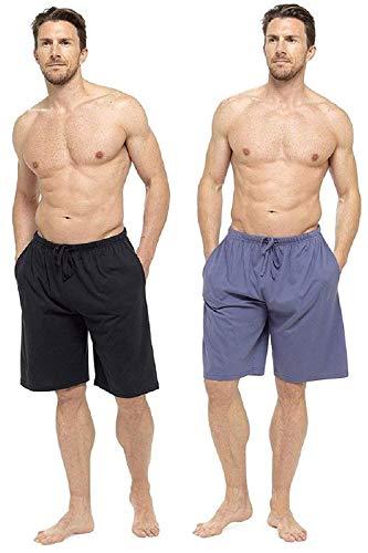 CComfort Herren Lounge-Wear Hose mit Bündchen oder Lounge-Shorts - weich, gemütlich und angenehm Nachtwäsche Hose 100% Baumwolle Herren Schlafanzughose Jogger Lounge-Pants (XXXL, blau und schwarz) - Pyjama-hose Loungewear
