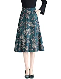 Damen Vintage Elegant Wollrock Floralen Rock hohe Taille Langen röcke  Mädchen Schlanke Warm Wolle Retro Winterrock 63d53a2483
