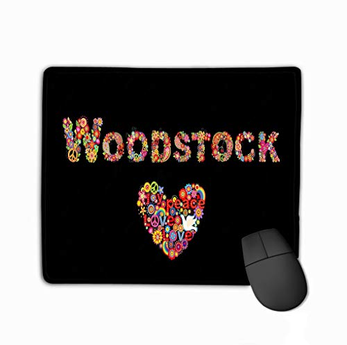 Family Mouse Pad,Standard Size Rectangle Non-Slip Rubber Mousepad 11.81 X 9.84 Inch Colorful Woodstock Flowers Lettering Hippie Heart Shape Flower Power Rainbow Paper Dove Print Party pos