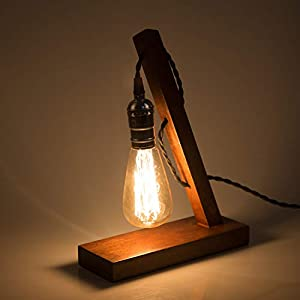 YUENSLIGHTING E27 Vintage Wood Blocks Table Lamp Desk Light for Cafe Bar Studio Night Light for Bedside Dimmable Without Bulb Art from YUENSLIGHTING