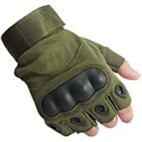 ZHJBD Equipo de Proteccion/Hard Knuckle Dedo Completo y Medio Dedo Guantes Paseos en Motocicleta Senderismo Senderismo Equipamiento para Deportes al Aire Libre Guantes (Color : Army Green, Size : M)
