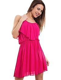 0a4dc858aa5c Toocool - Vestito donna miniabito velato chiffon ruches strass ondeggiante  nuovo CC-1292